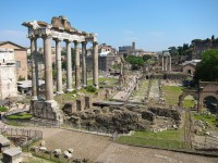Temple of the god Saturn at the Forum Romanum in Rome