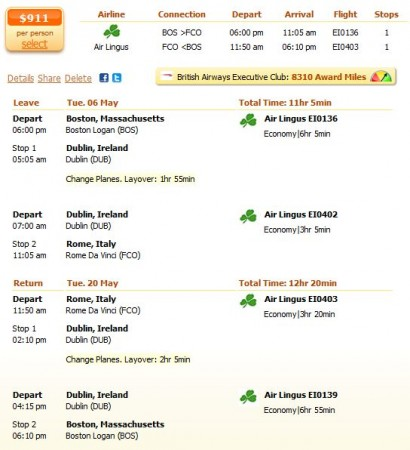 Air Lingus flight from Boston to Rome details