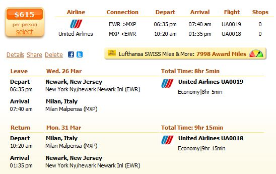 Flight from New Jersey to Milan details