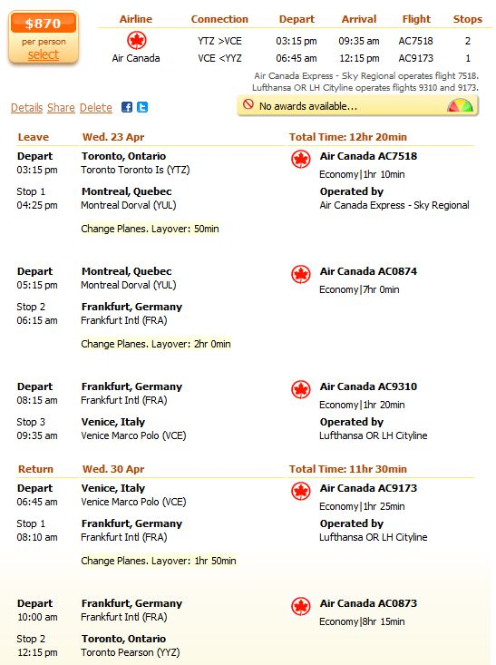 Air Canada flight from Toronto to Venice details